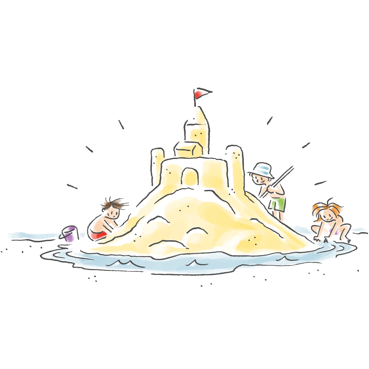 Cartoon of three kids building a sandcastle at the beach